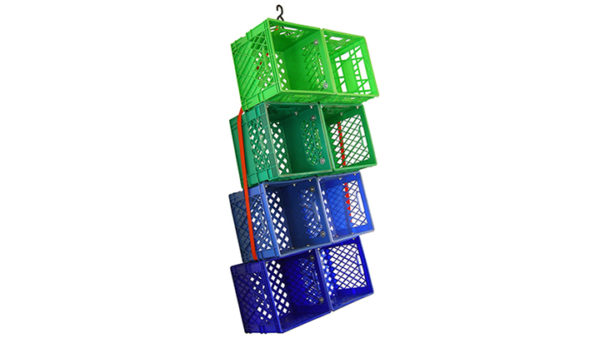 The Milk Crate Storage System by Kennedy Telford. Composed of milk crates, ratchet straps + hardware. Personal collection, 2010. Contemporary art, design, and objects from Oscar & Kennedy.